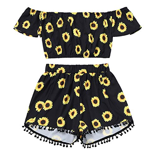 (Women Sexy Off Shoulder Sunflower Print Crop Tops + Tassel Shorts Two Piece Outfits 2 Piece Set Club Jumpsuit (Black, S))