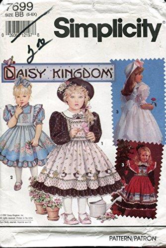 - Simplicity Daisy Kingdom Pattern 7699 Girl's Dress and Pinafore, BB (5-6X)