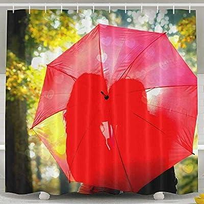 N/A - Cortina de Ducha Impermeable con Paraguas Rojos, 152 x 183 ...