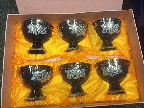 Porcelain Egg/Dessert Cups, Blue, Gift Box Set of 6