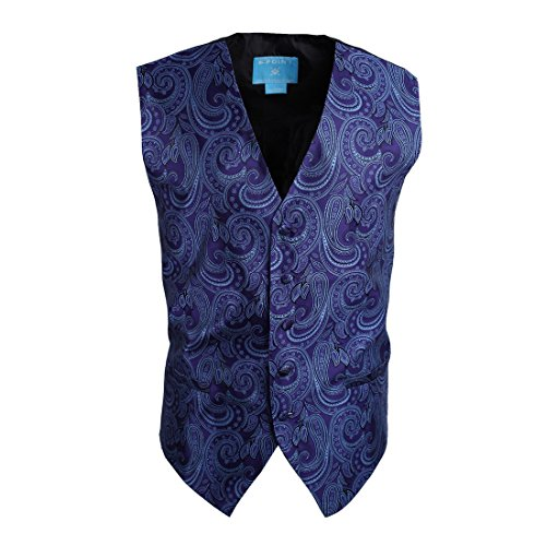 EGC1B01B-XL Dark Blue Patterned Working Day Designer Waistcoat Woven Microfiber Luxury Presents X-Large Vest By Epoint (Mans Vest Working)