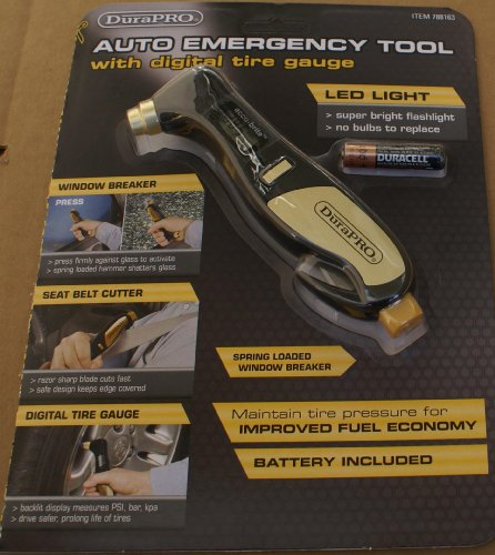 DuraPRO Auto Emergency Tool with Digital Tire Gauge - LED...