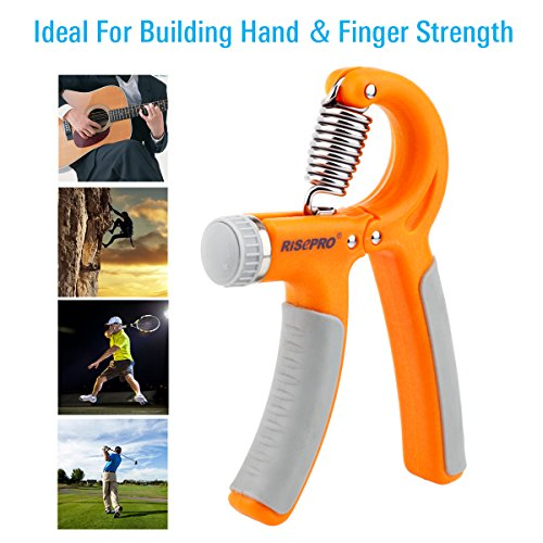 132LB/60kg Hand Gripper, RISEPRO Hand Strengthener Non slip Gripper Hand Exerciser Strength Trainer for Athletes Pianists Kids Adjustable Resistance Set of 4 with 3 grip rings HG2060 3R