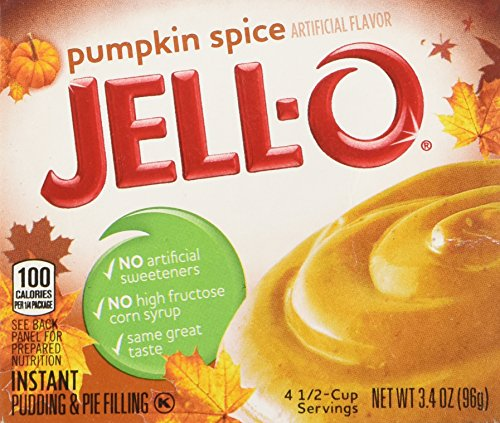 Kraft Jell-o Instant Pudding & Pie Filling, Pumpkin, 3.4-ounce Boxes (Pack of 4) (16 Dbl Box)