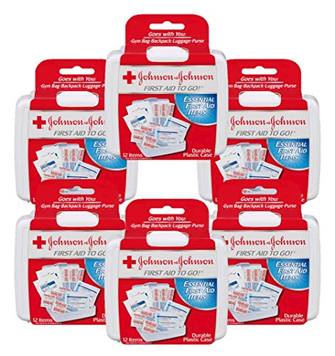 (First Aid to Go (Johnson & Johnson Mini First-Aid Kit with 12 Items) 6-Pack of Kits)