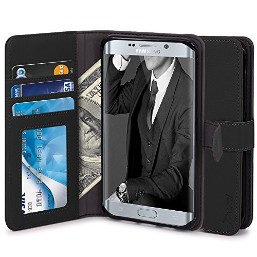 Wallet Case For Samsung Galaxy S6 edge (Black) - 1
