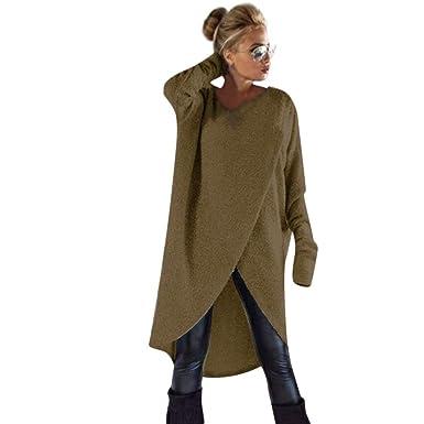 FORH Damen Mode Unregelmäßige Stricken Pullover Sweatshirt Winter warme  Lange Rundhals Strickjacke Tunika Mäntel Loose Langarmshirts ca7aac0e50