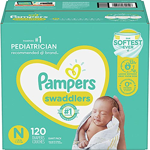 Baby Diapers Newborn/Size 0 (< 10 lb), 120 Count - Pampers Swaddlers, Size 0