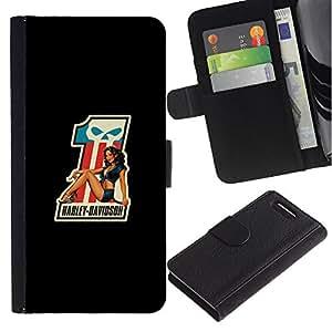 KingStore / Leather Etui en cuir / Sony Xperia Z1 Compact D5503 / Biker Chopper camino cartel Riding Pandillas;