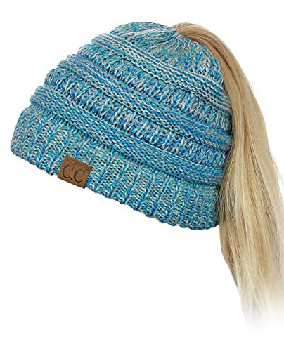 C.C BeanieTail Soft Stretch Cable Knit Messy High Bun Ponytail Beanie Hat, Turquoise Mix