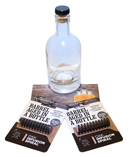 Infusion Kit (Untold Goods Barrel Aged Cocktail Kit - Barrel Aged Spirits, Cocktails, and Whiskey Kit - Includes 375 mL Glass Bottle, 2 Oak Inserts, and Recipe Card)