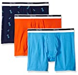 Nautica Men's Classic Underwear Cotton Stretch Boxer Brief-Multi Pack, Spicy Orange/Aero Blue/Crane Peacoat, M