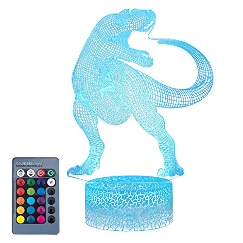 Koyya Dinosaur 3D Night Light Toys 4 Years Old Boy Gifts Decorative LED Bedside Desk Table Lamp 3D Illusion Light - USB Power/7 Colors Changing/Touch Switch