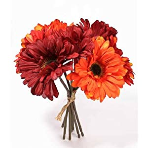 "Inspired By Nature 9.25"" Mixed Red and Orange Gerbera Daisy Silk Floral Bouquet - 7 Stems Total 29"