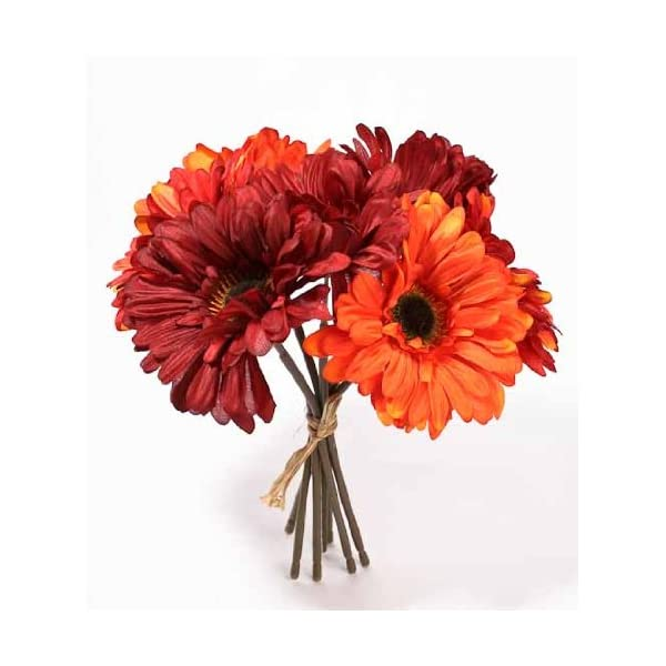 Factory Direct Craft Artificial Silk Mixed Red and Orange Gerbera Daisy Bundle for Weddings, Floral Arranging and Diplaying