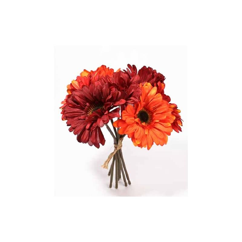 silk flower arrangements factory direct craft artificial silk mixed red and orange gerbera daisy bundle for weddings, floral arranging and diplaying