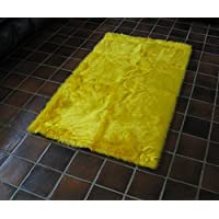 Flokati Faux Fur Rugs 4 x 4 (Canary Yellow)