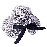2019 New !Women's Soft Bow Handmade Foldable Rear Split Strap Hat Fisherman Farmer Spring Summer Outdoor Straw Hat (Gray)