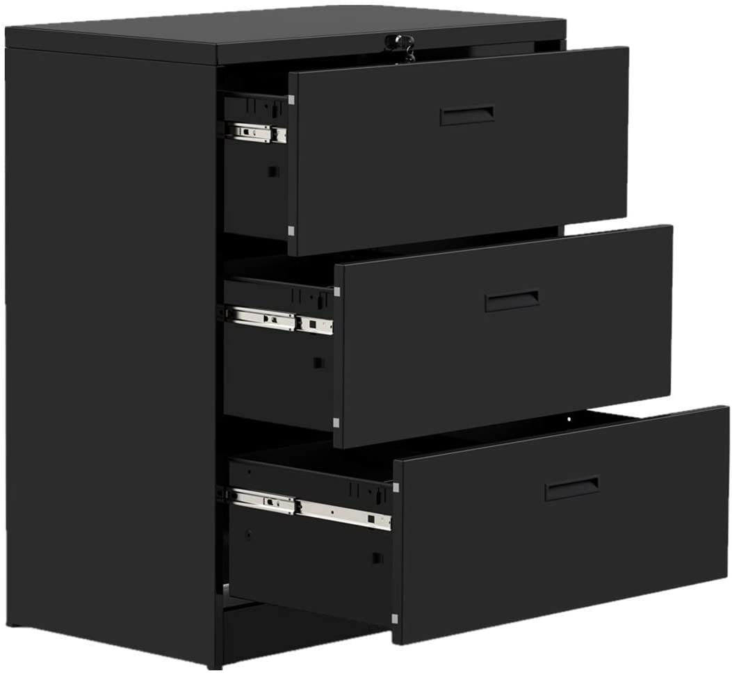 "Modern Luxe Lateral Metal Storage Filing Cabinet with 3 Drawers for Home Office,Anti-tilt Structure,35.4"" L x 17.7"" W x 40.3"" H, Jet Black"