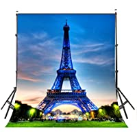 LYLYCTY Paris Eiffel Leaning Tower 5x7FT/1.5x2.1M Photo Studio Backdrop Blue Light Props Wall Photography Background PB003