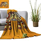 Flannel Throw Blanket Elephant Mandala,Marigold Backdrop Animal with Paisley Floral Details Strength of