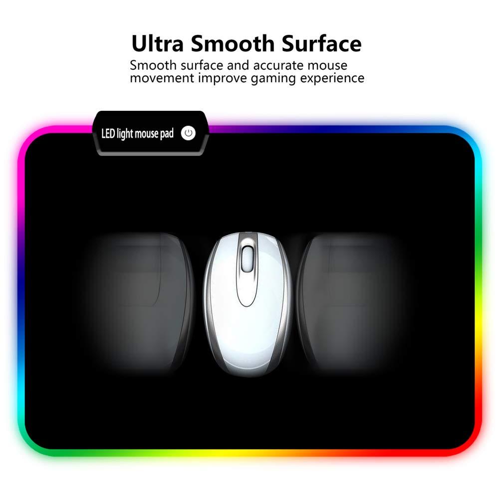 TYBLOOMY RGB Alfombrilla de Ratón, Alfombrilla de Ratón Ordenador Gaming Múltiples Modos Efectos de Luces, Superficie Texturizada Suave y Cómoda con Base de ...