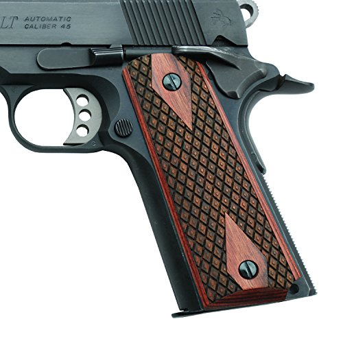 Altamont 1911 Grips - Spanish Diamond - Full Size 1911 Wood Grips w. Ambi Safety fits Most Commander, Standard & Government 1911 Models - Made in USA (Rosewood)