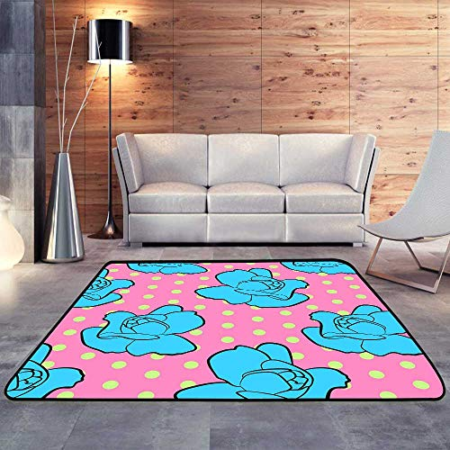 Camping Rugs for Outside,Seamless Floral Pattern with Blue Rose flowersW 78.7