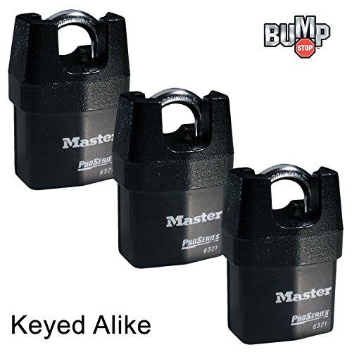 - Master Lock - Three (3) High Security Pro Series Padlocks 6321NKA-3 w/ BumpStop Technology.