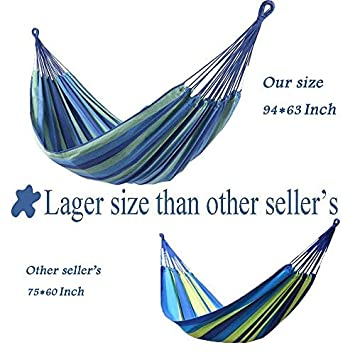 OnCloud Extra Long and Wide Double Hammock for Travel Camping Backyard, Porch, Outdoor or Indoor Use, Carrying Pouch Included Blue Green Stripes