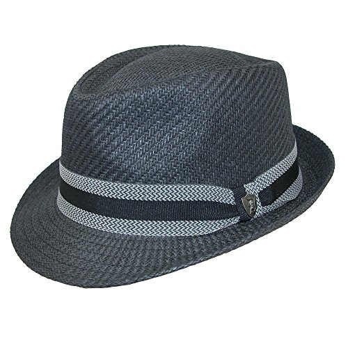Dorfman Pacific Men's Toyo Straw Fedora With Striped Band, Medium, Black (Fedora Striped Mens)
