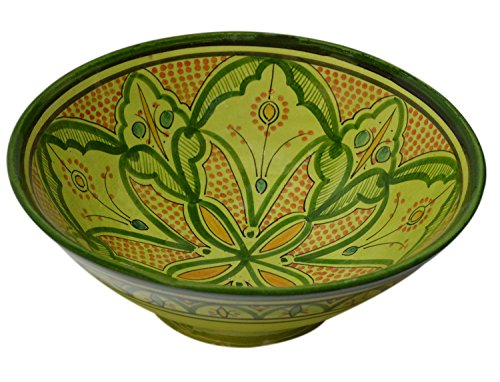 Ceramic Bowls Moroccan Handmade Serving Bowl Green Large 12 Inches Across ()