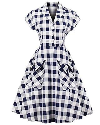 ZAFUL Women's 1950s Vintage Cap Sleeve V Neck Plaid Swing Dress With Pockets