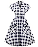 ZAFUL Women's 1950s Vintage Cap Sleeve V Neck Plaid Swing Dress with Pockets(Blue and White,2XL)