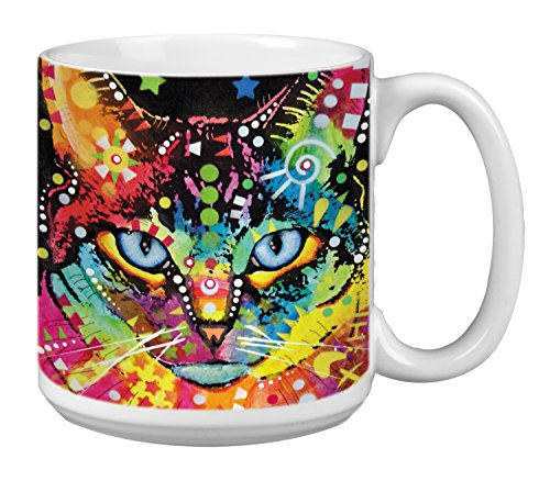 Tree-Free Greetings Extra Large 20-Ounce Ceramic Coffee Mug, Behind Blue Eyes Themed Dean Russo Cat Art (XM63213)