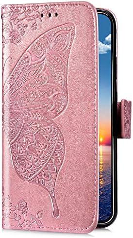 Uposao Kompatibel mit Samsung Galaxy S9 Plus Handyhülle Schutzhülle Retro Schmetterling Blumen Muster Leder Hülle Brieftasche Klapphülle Wallet Flip Case Tasche Magnet Kartenfächer,Rose Gold