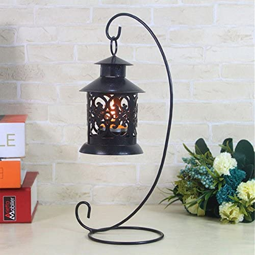 Iron Candle Holder Home Garden Candlestick Glass Ball Lantern Hanging Stand