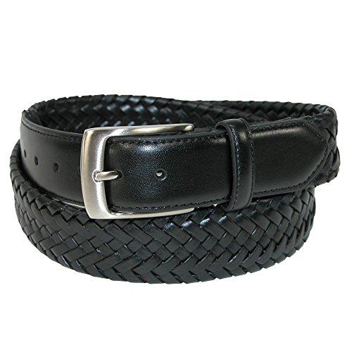 Straps Elastic Woven Satin - Danbury Men's Big & Tall Comfort Stretch Leather Braided Belt, 54, Black