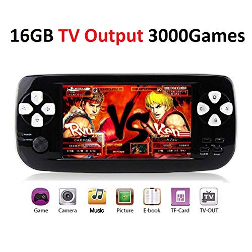 - MJKJ Handheld Game Console , Portable Video Game Console 4.3 Inch 3000 Classic Retro Game Console Pap-KIII , Support GBA / GBC / GB / SEGA / NES / SFC / NEOGEO - Black