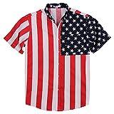 UB Apparel & Gear Mens American Flag Button Down Shirt (Large)