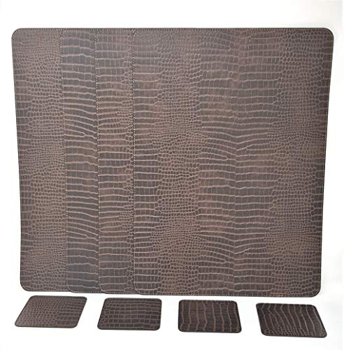Nikalaz Set of Placemats and Coasters, 4 Table Mats and 4 Coasters, Recycled Leather, Place Mats (18x13 inches, Crocodile Embossing)