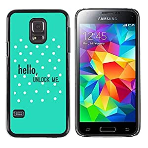 Paccase / SLIM PC / Aliminium Casa Carcasa Funda Case Cover - Hello Unlock Polka Dot Green Text - Samsung Galaxy S5 Mini, SM-G800, NOT S5 REGULAR!