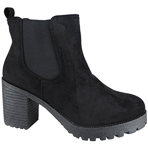 Boots Size Casual Mid Shoes Work Black Chelsea Girls 8 Ankle Heel Ladies 3 w0qfzOZ