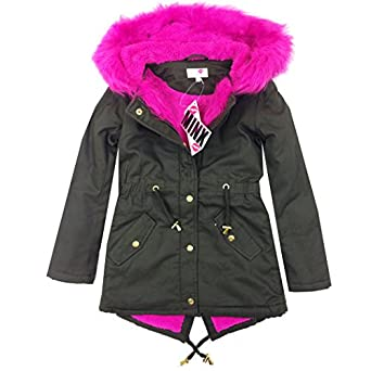 New Premium Quality Girls Parka Jackets Faux Fur Trim Hood Kids ...