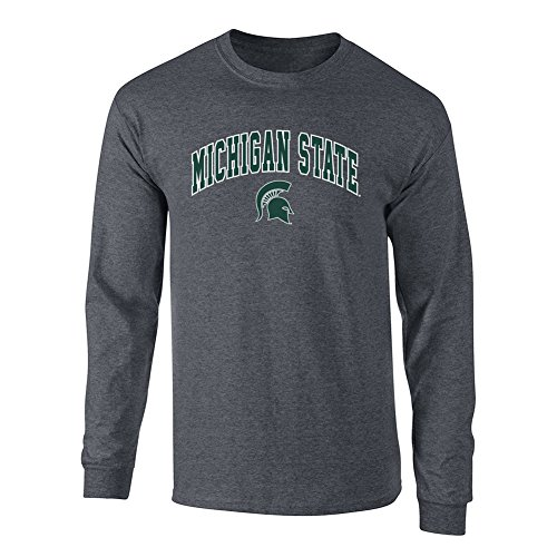 Michigan State Spartans Long Sleeve Tshirt Arch Charcoal   Xl