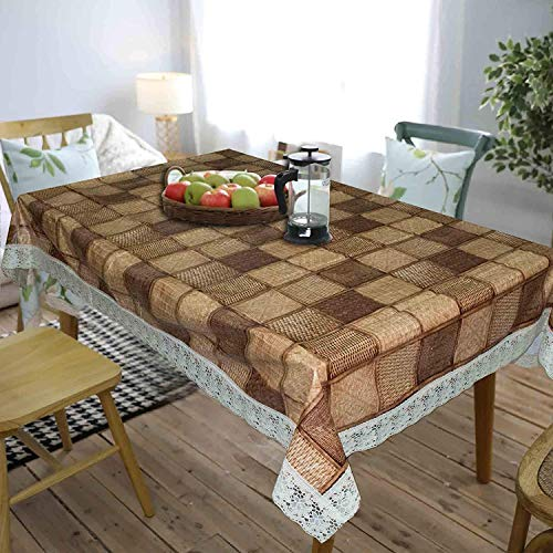 CASA-NEST Thick PVC Printed Dining Table Cover, 4 to 6 Seater Size-54×78 inch, Waterproof Easy to Clean, Choco Color