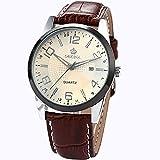 Orkina Mens White Dial Date Sport Quartz Coffee Leather Wrist Watch Gift ORK055