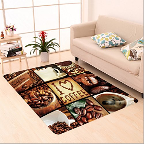 Nalahome Custom carpet n I Love Coffee Theme Collage Roasted Beans Brewing Machines and Cups Aromatic Drink Brown White area rugs for Living Dining Room Bedroom Hallway Office Carpet (6' X 9') - Bamboo Shag Coffee Bean