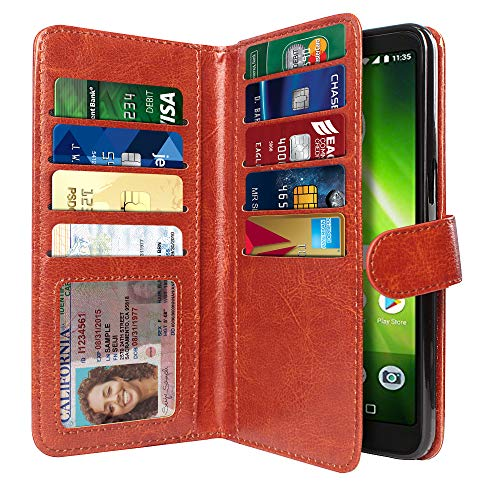 - NEXTKIN Case Compatible with Motorola Moto G6 Play/ G6 Forge/Moto E5, Leather Dual Wallet Folio TPU Cover 2 Large Pockets Double Flap, Multi Card Slots Snap Button Strap for Moto G6 Play - Dark Brown