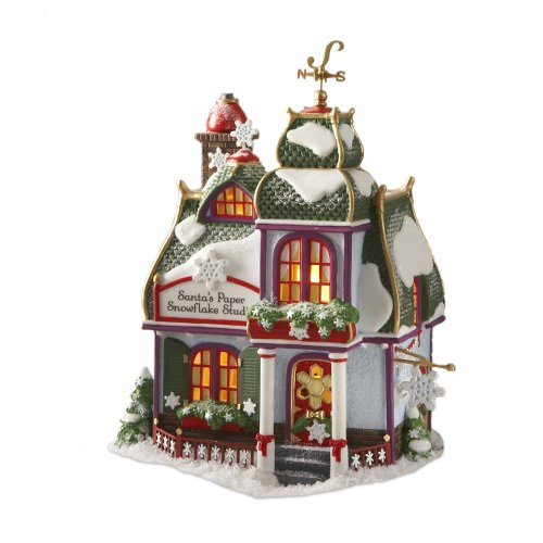 Department 56 North Pole Village Santa's Paper Snowflake Lit -
